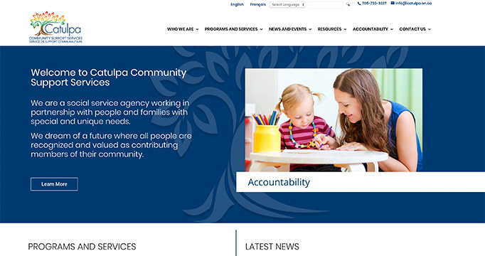 Catulpa Community Support Services website design by takecareofmysite.com